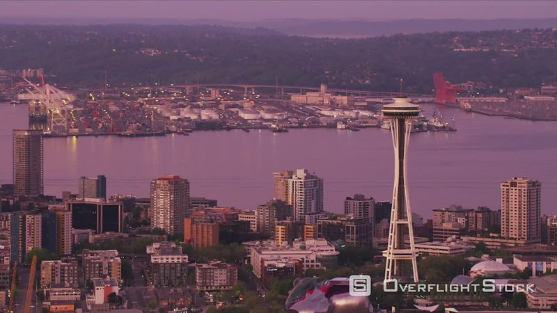 Seattle, Washington Aerial view of Space Needle and Port of Seattle at dawn.  Shot with Cineflex and RED EpicW Helium.