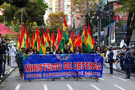 Members of the Ministry of Defence during official parades for Dia del Mar / Day of the Sea, Plaza Avaroa, La Paz , Bolivia