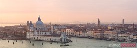 Aerial panoramic of Salute basilica at sunset, Venice, Italy