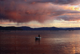Fisherman fishing on Lake Titicaca at sunset, Capachica Peninsula, Peru