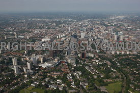 Birmingham wide angle high level aerial photograph of Five Ways looking towards the city centre