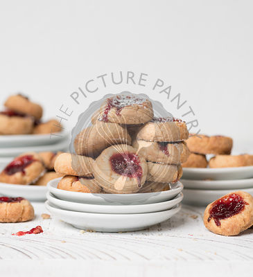 Strawberry Jam Filled Thumbprint Cookies