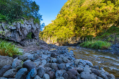 Natural arch at Bras de la Plaine at Reunion Island