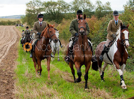 Members of the Cottesmore Hunt enjoy a day of Autumn Hound Exercise near Bisbrooke, Rutland.