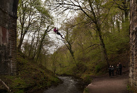 Abseiling in Miller's Dale