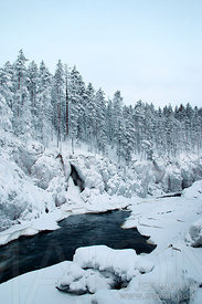 Taivalköngäs rapids in winter