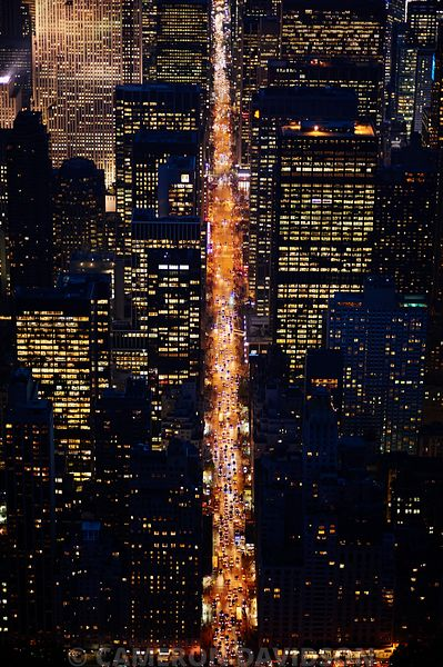 Aerial photograph 6th Avenue in the early evening.