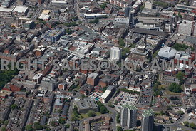Preston aerial photograph looking across Fishergate and Church Street and the town centre main shopping area