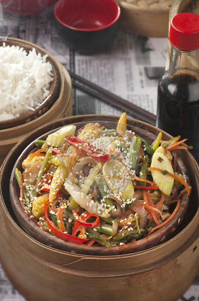 Chinese stir-fry vegetables with soy sauce
