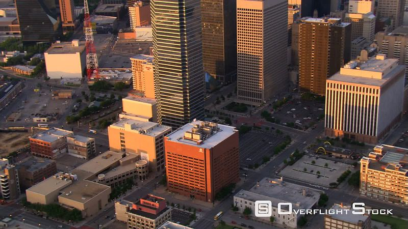Late afternoon flight across downtown Dallas, Texas