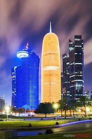 Doha city center illuminated at night, Qatar, Middle East