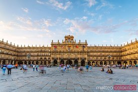 plaza Mayor at sunset with people, Salamanca, Spain
