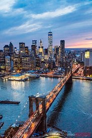 Aerial view of Brooklyn bridge at dusk, New York, USA