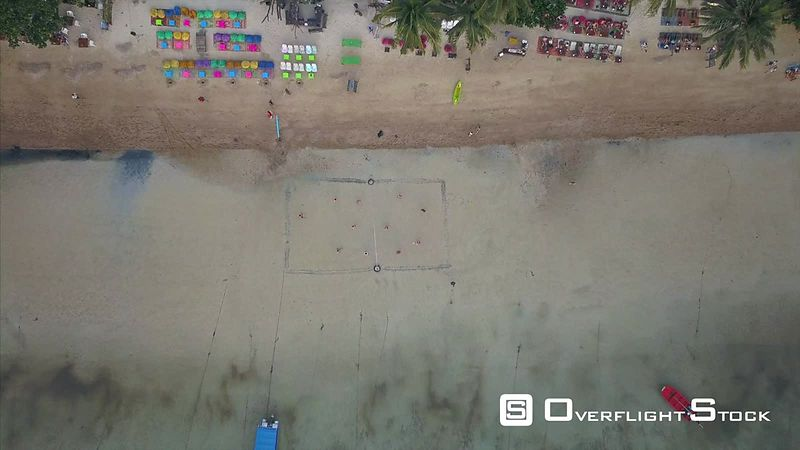 Top Down Beach Volleyball Drone Video Ko Tao, Ko Phangan District, Surat Thani, Thailand