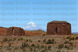 Huanuni Cachu chulpas, Sajama volcano in background, Bolivia
