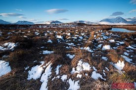 Rannoch moor landscape with snow Scotland UK
