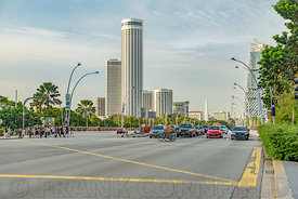 SINGAPORE CITY, SINGAPORE - OCTOBER 08, 2016: Road traffic stoped to allow pedeestrains to cross Esplanade Drive in central Singapore.