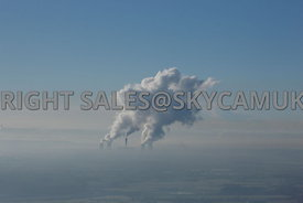 Fidders Ferry aerial photograph of a misty landscape of plumes of steam rising above the power station against a clear blue sky