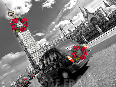 Taxi on road with big ben in background, London