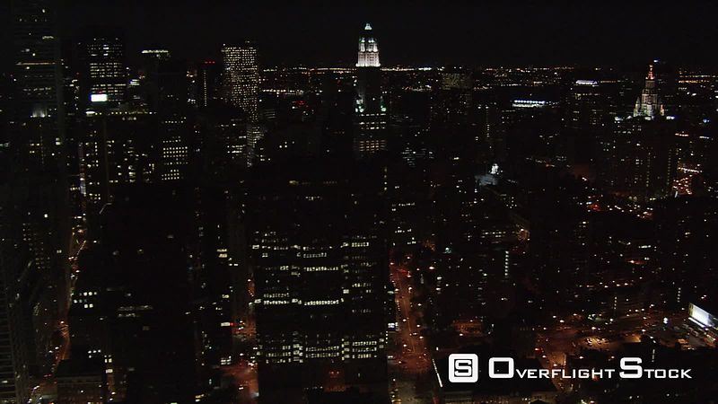 Slow night flight along Manhattan's East Side.