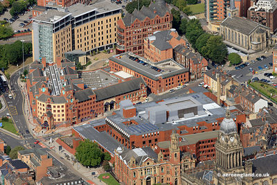 aerial photograph of Leeds Combined Court Centre, The Courthouse 1 Oxford Row Leeds West Yorkshire LS1 3BG including the Magistrates Court ( centre ) and High Court ,  Crown Court and Leeds County Court ( foreground)