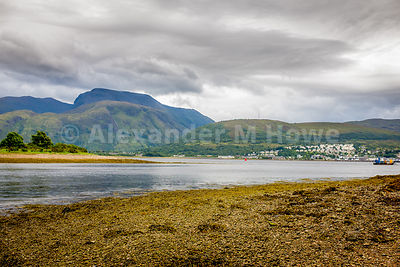 Ben Nevis towering over Loch Eil with brooding skies overhead