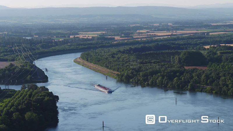 Rhone at Mornas, viewed from drone