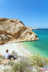 Oman, Muscat, Qantab. Rocky coastline and deserted beach