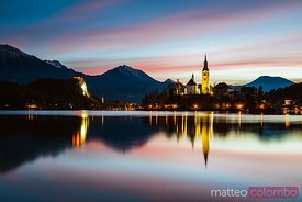 Bled lake and island at sunrise, Slovenia