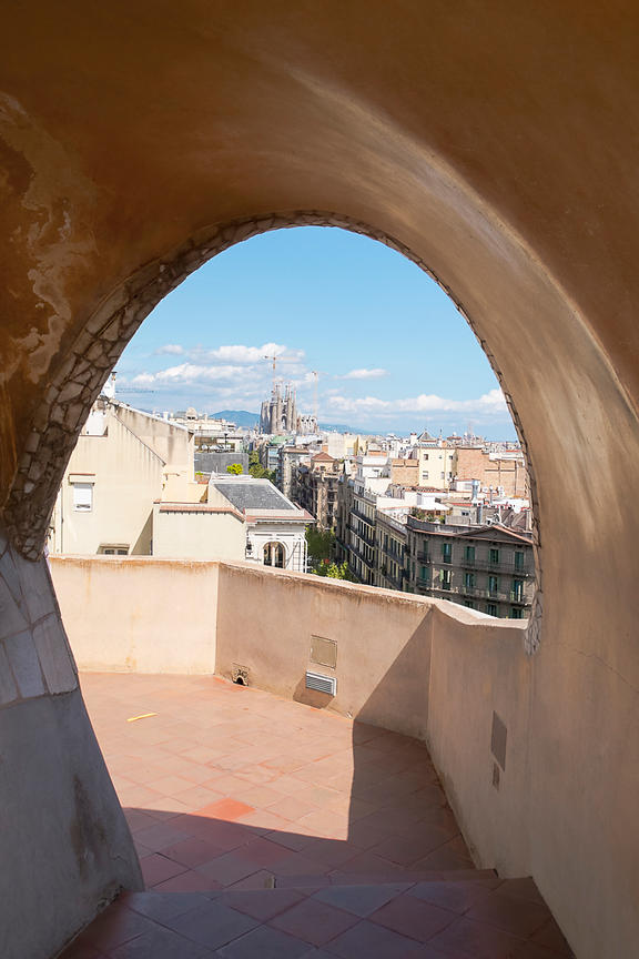 La Sagrada Familia Viewed from La Pedrera Rooftop