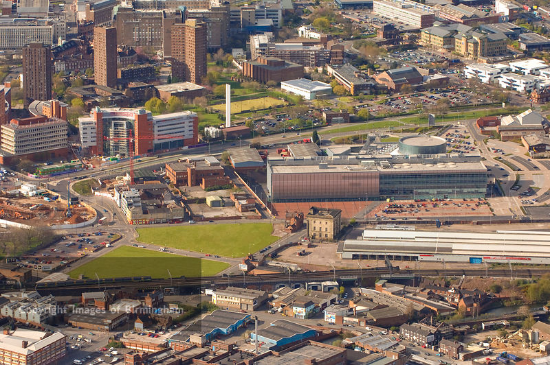 An aerial view of Birmingham, showing Millennium Point, and Eastside