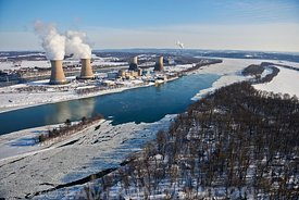 Aerial photograph of Three Mile Island Nuclear Power Station on the Susquehanna River.
