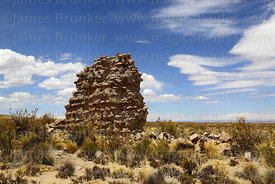 Ruined stone and adobe chulpa at Pumiri, Oruro Department, Bolivia