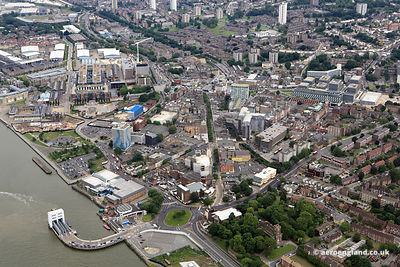 aerial photograph of Woolich London England UK showing Powis St, London SE18 6NN, Hare St, Woolwich, London SE18 6LZ ,  Woolwich High St, London SE18 6NE, Woolwich Ambulance Station, New Ferry Approach, London SE18 6DX, the Waterfront Leisure Centre  and the Royal Arsenal