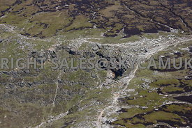 Peak District aerial photograph of Kinder Downfall waterfall Kinder Scout Peak District National Park