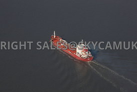 Liverpool aerial photograph of Shipping The Tequila gas transporter transiting the River Mersery