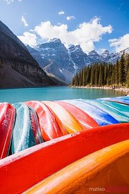 Canoes at Moraine lake, Banff National Park, Canada