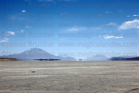 Mirage optical effects and volcanos seen from the Salar de Chiguana, Bolivia