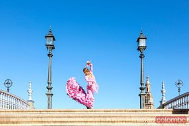 Flamenco dancer performing in plaza de Espana, Seville, Spain