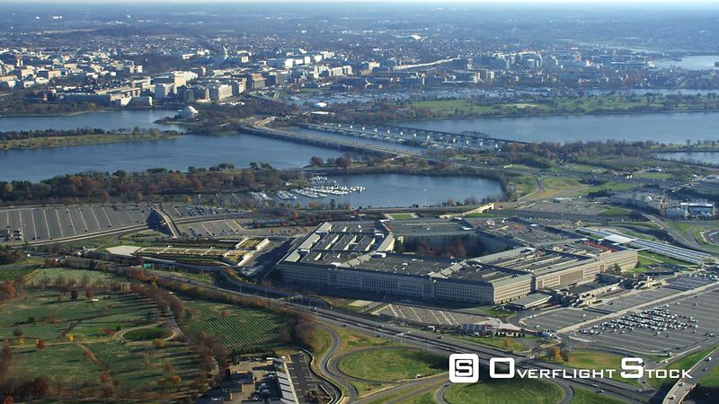 Flying by the Pentagon With Columbia Island Marina Behind  Potomac River and Washington DC in Distance.