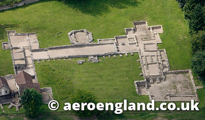 aerial photograph of roman villa at Great Witcombe  Gloucestershire  England UK