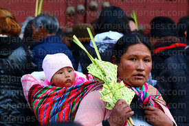 Aymara woman carrying baby holding ornament made out of palm leaves on Palm Sunday, La Paz, Bolivia
