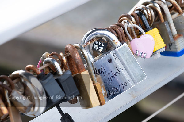 Love locks at The Mailbox development alongside the canals of Birmingham