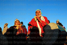Musician playing sicu (panpipe or zampoña) during Aymara New Year celebrations, Tiwanaku, Bolivia