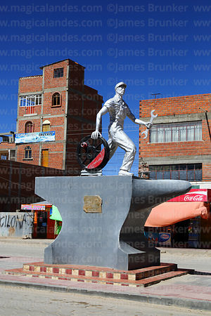 Monument to railway workers in Av Ferroviaria, Uyuni, Bolivia