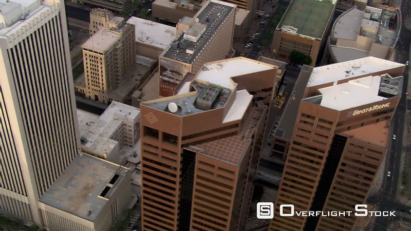 Orbiting above downtown Phoenix skyscrapers.