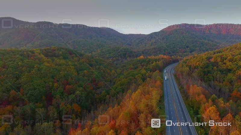 4k Cinematic Epic Aerial of Mountains in North Carolina in Autumn