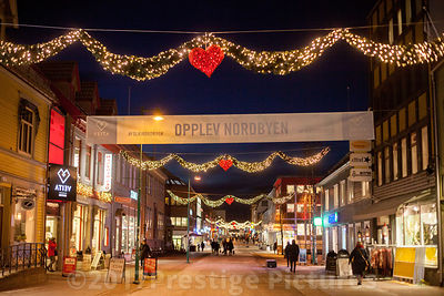 Main Shopping Street in Tromsø, Norway at night with Christmas Lights