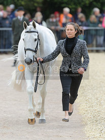 Natalie Blundell and ALGEBRA - First Horse Inspection, Mitsubishi Motors Badminton Horse Trials 2014