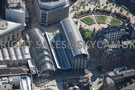 Sheffield aerial photograph of the Winter Gardens showing the curved glass roof of the largest urban temperate Glasshouse built in the UK